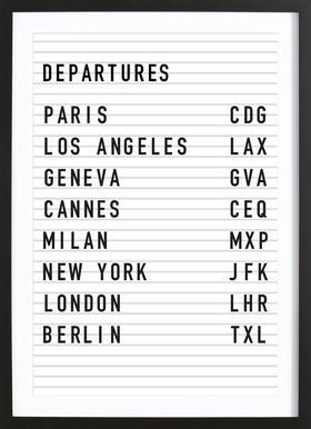 Departure Paris ingelijste print