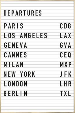 Departure Paris affiche sous cadre en aluminium