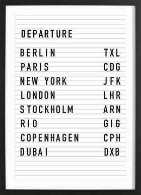 Departure Berlin affiche sous cadre en bois