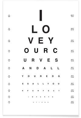 Eye Chart I Love You poster