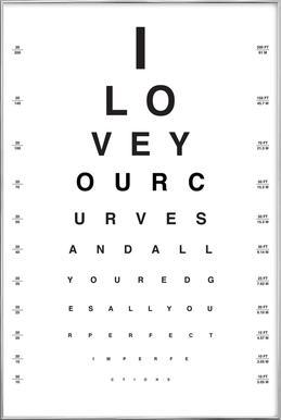 Eye Chart I Love You affiche sous cadre en aluminium