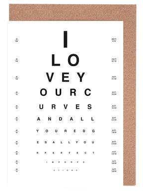 Eye Chart I Love You Greeting Card Set
