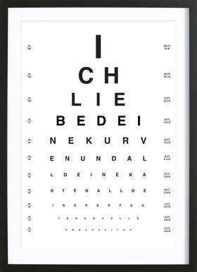 Eye Chart Ich Liebe Dich affiche sous cadre en bois