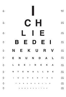 Eye Chart Ich Liebe Dich Aluminium Print