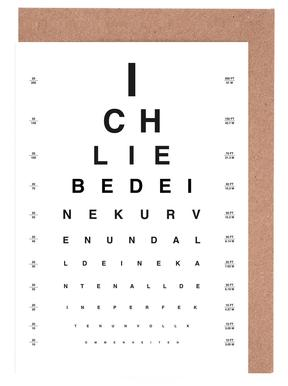 Eye Chart Ich Liebe Dich Greeting Card Set