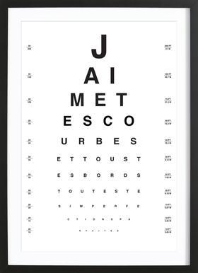 Eye Chart Je t'aime affiche sous cadre en bois