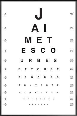 Eye Chart Je t'aime ingelijste poster