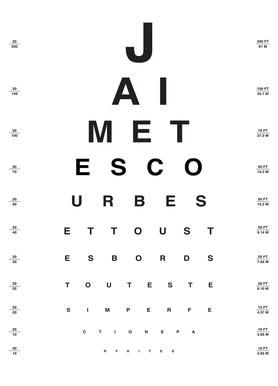 Eye Chart Je t'aime Canvas Print