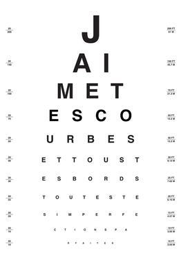 Eye Chart Je t'aime acrylglas print