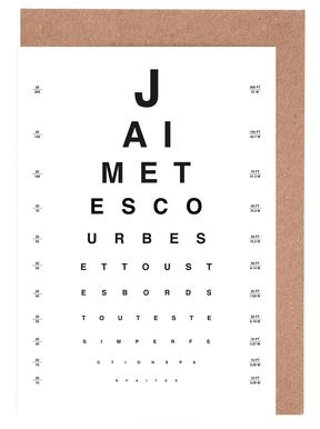 Eye Chart Je t'aime cartes de vœux