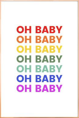 Oh Baby Rainbow Poster in Aluminium Frame