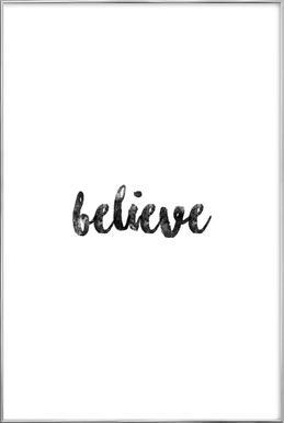 Believe affiche sous cadre en aluminium