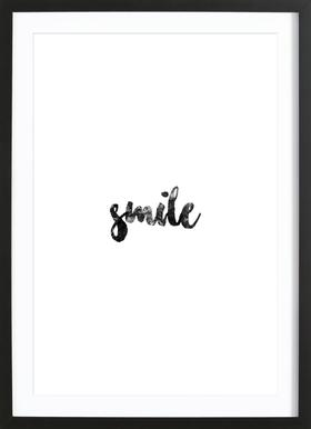 Smile affiche sous cadre en bois