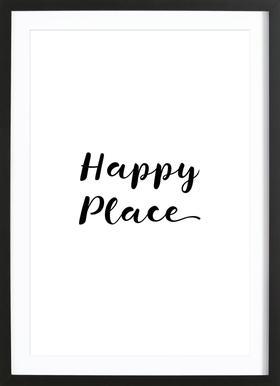 Happy affiche sous cadre en bois