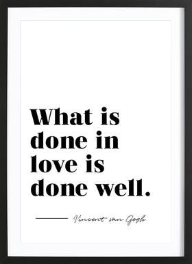 Done in Love affiche sous cadre en bois