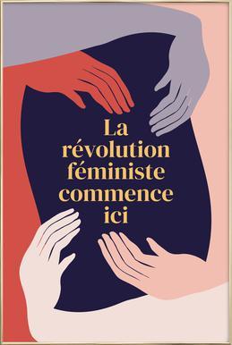 La Révolution Féministe Commence Ici II Poster in Aluminium Frame