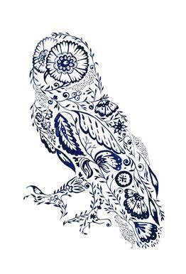 Folk Floral Owl Impression sur alu-Dibond