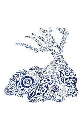 Folk Floral Deer toile