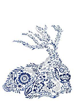 Folk Floral Deer tableau en verre