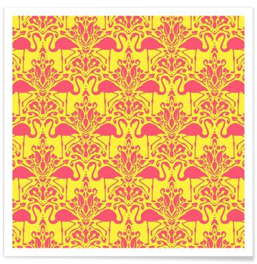 Flamingo Damask - yellow