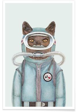 Scuba Cat Poster