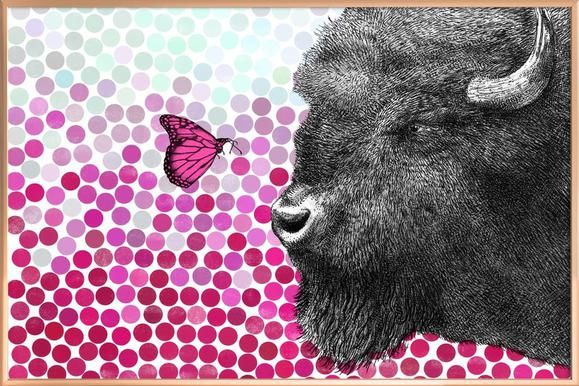Bison and Butterfly poster in aluminium lijst