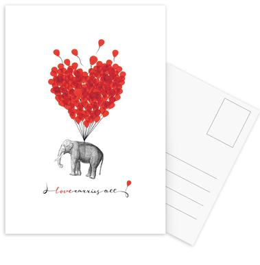 Love carries all - elephant cartes postales