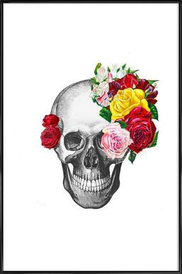 Skull with roses Framed Poster