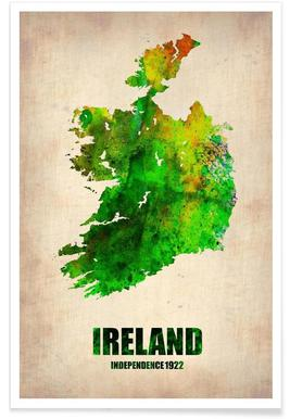 Ireland Watercolor Map Poster