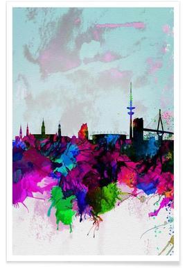 Hamburg Watercolor Skyline Poster