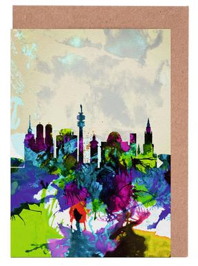 Munich Watercolor Skyline Greeting Card Set
