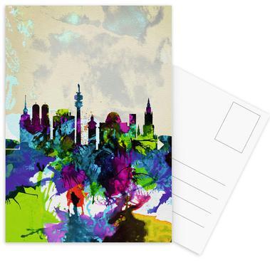Munich Watercolor Skyline -Postkartenset