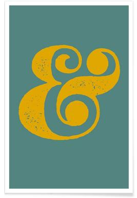 Ampersand Poster Blue and Yellow Poster