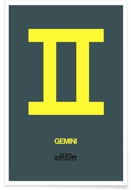Gemini Zodiac Sign Yellow Poster