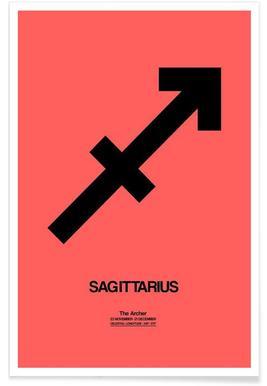 Sagittarius Zodiac Sign Black Poster