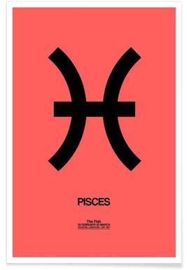 Pisces Zodiac Sign Black Poster