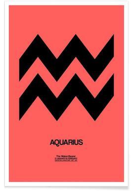 Aquarius Zodiac Sign Black Poster