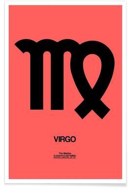 Virgo Zodiac Sign Black Poster
