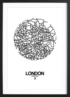 London - Poster in Wooden Frame