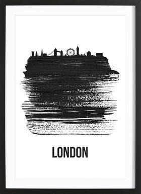 London Skyline Brush Stroke Framed Print