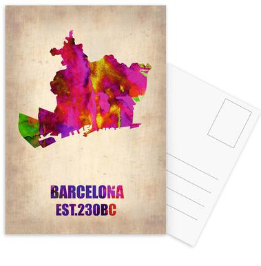 Barcelona Watercolor Map Postcard Set