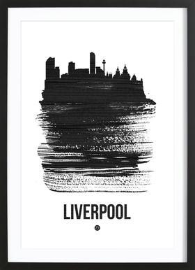 Liverpool Skyline Brush Stroke Framed Print
