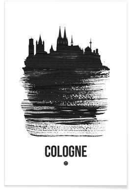 Cologne Skyline Brush Stroke -Poster