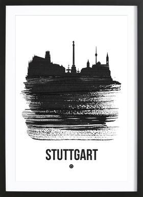 Stuttgart Skyline Brush Stroke Framed Print