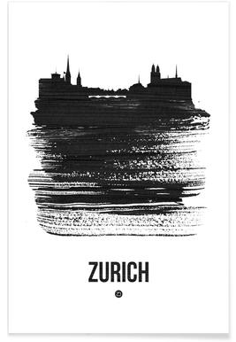 Zurich Skyline Brush Stroke -Poster