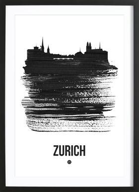 Zurich Skyline Brush Stroke Framed Print
