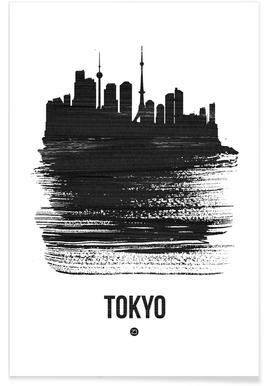 Tokyo Skyline Brush Stroke Poster