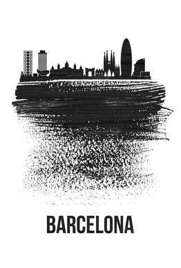 Barcelona Skyline Brush Stroke Aluminium Print