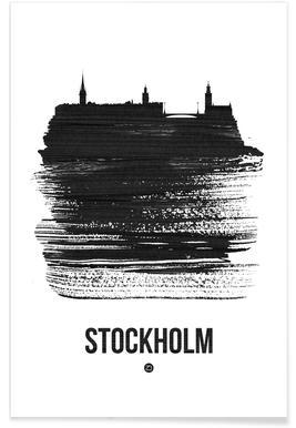 Stockholm Skyline Brush Stroke poster
