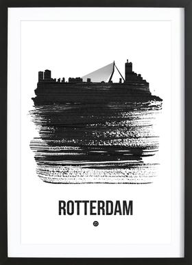 Rotterdam Skyline Brush Stroke Framed Print